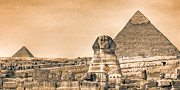 Historic Site Digital Art Framed Prints - The Sphinx And Pyramids - Vintage Egypt Framed Print by Mark E Tisdale
