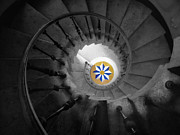 The Spiral Staircase Of Villa Vizcaya Bwcolor Print by Mike Nellums