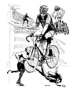 Biking Drawings Posters - The Spirit of Freedom Poster by Joseph Juvenal