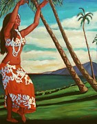 Hawaiin Framed Prints - The Spirit of Hula Framed Print by Janet McDonald