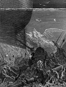 Ship Drawings Posters - The Spirit that had followed the ship from the Antartic Poster by Gustave Dore