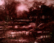 Light And Dark   Painting Prints - The SPRING EEL FLOODING or Red and Green Dont make Brown Print by Charlie Spear
