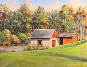 Fall Scenes Paintings - The Spring House by Michele Tokach