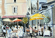 Cafes Painting Posters - The Square at St. Malo Poster by Felicity House