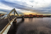 Buildings At Sunset Prints - The squiggly Bridge Print by John Farnan