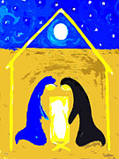 Christian Artwork Painting Prints - The Stable Print by Patrick J Murphy