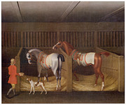 Horse And Riders Posters - The Stables and Two Famous Running Horses Poster by James Seymour