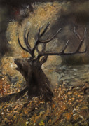 Nature Scene Originals - the Stag sitting in the grass oil painting by Angel  Tarantella