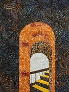 Fiber Art Tapestries - Textiles Prints - The Staircase Print by Lynda K Boardman