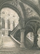 Balustrade Posters - The Staircase of the Paris Opera House Poster by Charles Garnier