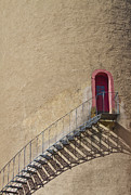 Castles Photos - The Staircase to the Red Door by Heiko Koehrer-Wagner
