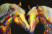 Contemporary Equine Prints - The Stallion Kiss Paint Horses Print by Jennifer Morrison Godshalk