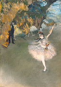 Tutu Painting Posters - The Star or Dancer on the stage Poster by Edgar Degas