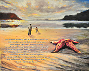 Star Pastels Posters - The Starfish Poster by Susan Jenkins