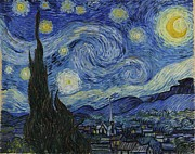 Vintage Painter Prints - The Starry Night Print by Nomad Art And  Design