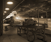 Horse And Cart Digital Art Metal Prints - The Station 2 Metal Print by Mike McGlothlen