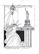 New Jersey Drawings Originals - The Statue Of Liberty by Ira Shander