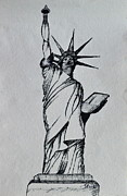 Featured Drawings Prints - The Statue of Liberty Sketch Print by Shruti Shubham