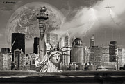 Manhattan Digital Art Originals - The Statue of Sandy by Karl Emsley
