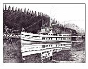 Marine Drawings Metal Prints - The Steamer Virginia V Metal Print by Jack Pumphrey