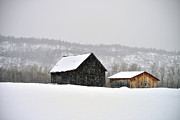 Barn Covered In Snow Framed Prints - The Steele Line Framed Print by Joshua McCullough