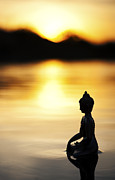 Buddha Photo Metal Prints - The Stillness of Sunrise Metal Print by Tim Gainey