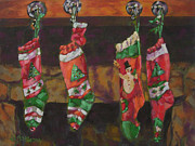 Christmas Eve Painting Metal Prints - The Stockings Metal Print by Gloria  Nilsson