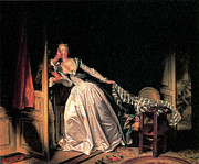 Honore Posters - The Stolen Kiss Poster by Jean-Honore Fragonard