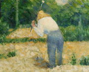 Country Scene Paintings - The Stonebreaker by Georges Pierre Seurat