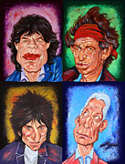 Legendary Music Singers Mixed Media Framed Prints - The STONES Framed Print by Dan Haraga