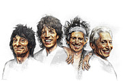 Rock N Roll Paintings - THE STONES No Politics by Michael Essex