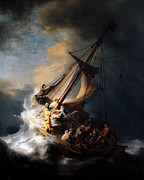 Religious Mixed Media Prints - The Storm on the Sea of Galilee Print by Rembrandt
