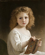Little Girl Prints - The Story Book Print by William Adolphe Bouguereau