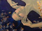 Blue Purple Paintings - The Story of the Sixth Sense by Dorina  Costras