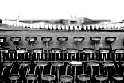Typewriter Keys Photo Prints - The Story Told BW Print by Angelina Vick