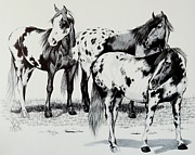 Horse Drawings Prints - The Strange Noise Print by Cheryl Poland