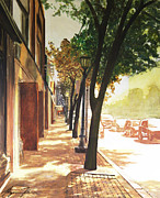 One Point Perspective Paintings - The Street by Alyssa Kerr