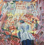 Man Looking Down Painting Framed Prints - The Street Enters the House Framed Print by Umberto Boccioni