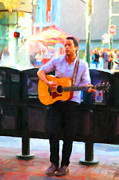 Live Music Digital Art Posters - The Street Performer on Market Street - 5D20725 Poster by Wingsdomain Art and Photography