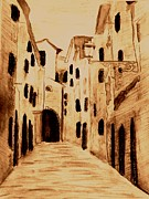 Brown Tones Mixed Media Prints - The Streets of Italy Print by Desiree Paquette