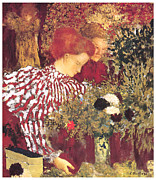 Woman In A Dress Prints - The Striped Blouse Print by Edouard Vuillard