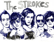 Alternative Rock Band Drawings - The Strokes by Mils Gan