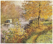 Autumn Scene Painting Framed Prints - The Studio Boat Framed Print by Claude Monet