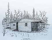 Hunting Cabin Drawings Framed Prints - The Stump Sitters Place Framed Print by Jack G  Brauer