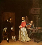Couple In Love Paintings - The Suitors Visit by Gerard Terborch