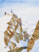 Ice Climbing Paintings - The Summit by James S Bagley
