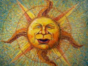 The Blue Face Paintings - The Sun King by Gail Allen