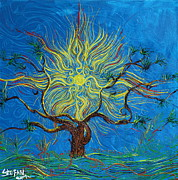 Sun Rays Painting Prints - The Sun Tree Print by Stefan Duncan