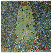 Sunflower Paintings - The Sunflower by Gustav Klimt