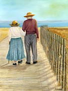 Couples Painting Prints - The Sunset Of Our Lives Print by Vicky Watkins